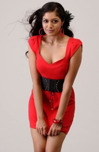Meghana Raj Hot Cleavage Show Photos Gallery