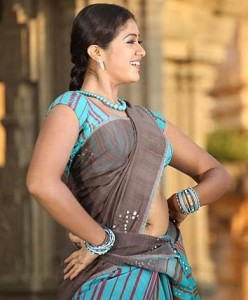 Actress Meghana Raj Hot Navel Images in Half Saree