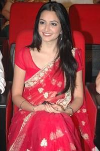 Kriti Kharbanda Saree Photos At Teenmaar Audio Launch