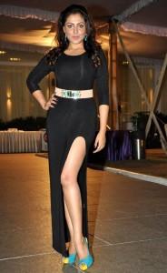 Actress Madhu Shalini Hot Pics in Black Dress At Satya 2 Movie Audio Launch Event