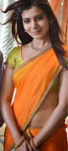 Samantha Photos in Half Saree From Rabhasa Movie