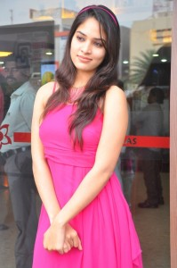 Sanyathara Sexy Stills in Pink Dress