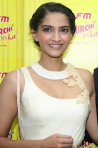 Bollywood actress Sonam Kapoor and Tollywood actor and son-in-law of actor Rajnikant, Dhanush interacts with media during the promotion of their upcoming film Raanjhanaa Ka Lallan at Radio Mirchi 98.3 FM in Mumbai on May 24, 2013. (Photo: IANS)