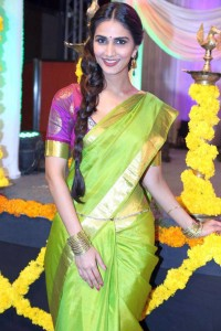 Vaani Kapoor Pics in Green Saree At Aaha Kalyanam Movie Audio Launch Function