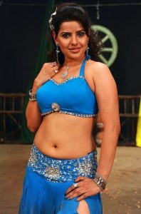 Madhu Sharma Sexy Navel Images in Blue Dress