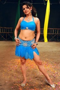 Actress Madhu Sharma Hot Navel Photos in Blue Dress