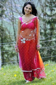 Anushka Navel Show Photos in Saree
