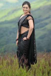 Ester Noronha Spicy Navel Show Photos in Black Saree