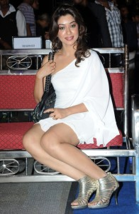 Actress Payal Ghosh Hot Thighs Show Pictures in White Dress
