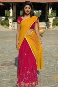 Actress Prathista Navel Show Pics in Half Saree