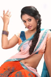 Priyanka Pallavi Hot Navel Photos in Half Saree 6