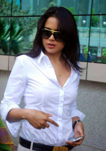 Sameera Reddy Sexy Stills in White Shirt