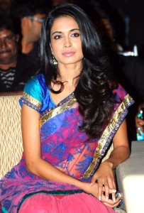 Sarah Jane Dias Hot Half Saree Pics At Panjaa Movie Audio Launch Event
