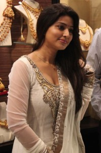 Sneha Latest Hot Cleavage Show Photos in White Dress