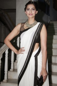 Sonam Kapoor Latest Hot Saree Images At Kuch Dil Ne Kaha Ghazal Album Launch