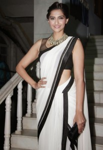 Sonam Kapoor New Sexy Saree Pictures At Ghazal Album Launch