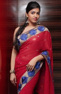 Dhansika Hot Navel Images in Transparent Saree