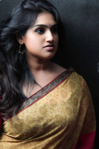 Vanitha Vijaykumar Stills in Transparent Saree