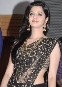 Vedika Navel Show Images In Transparent Black Saree