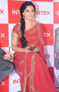 Anushka Pics in Red Saree At Intex Smartphone Launch