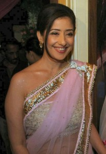 Actress Manisha Koirala Hot Navel Show Photos in Saree