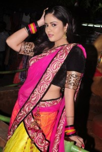 Sree Mukhi Sexy Photos in Half Saree