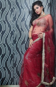 Srushti Dange Hot Navel Show Pics in Transparent Saree